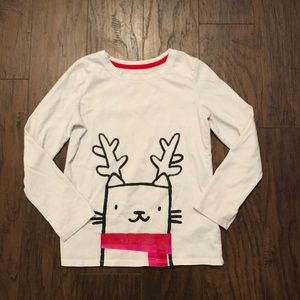 Cat&Jack Reindeer Cat Girls Red White Shirt 7/8